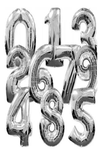 Globos Metalizados Plateados O Dorados De Números De 80 Cm