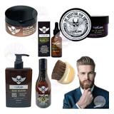 Kit Barbería Aceite Barba Bálsamo Shampoo Gel Cepillo Loción