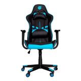 Cadeira De Escritório Dazz Prime-x  Preta E Azul Com Estofado Do Couro Sintético