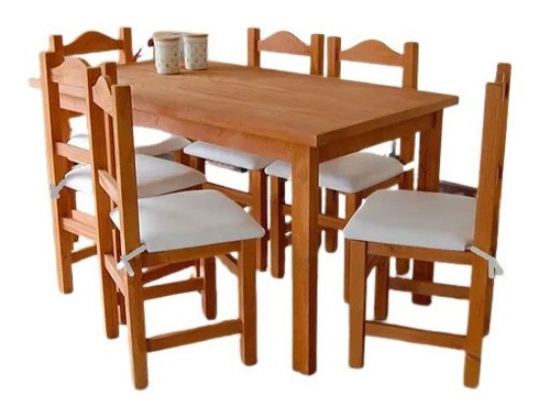 Mesa Comedor 140+6 Sillas Madera Reforzadas + Almohadones