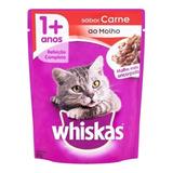 Alimento Whiskas 1+ Para Gato Adulto Sabor Carne Ao Molho Em Sachê De 85g