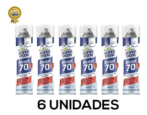 Alcool Aerossol Spray 70 Super Dom 300ml - Dom Line - 6 Und
