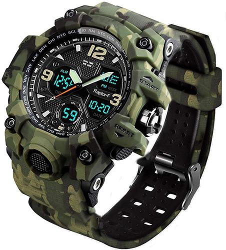 Reloj Hombre Raptor-f Militar Doble Esfera 50 Mts Agua Bkm