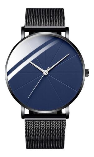 Reloj Hombre Negro Gris Acero Inoxidable Elegante