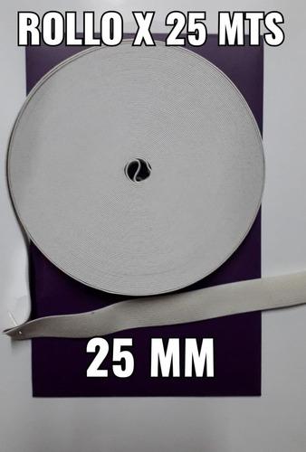 Elástico Algodón De 25 Mm Blanco  Por 25 Mts