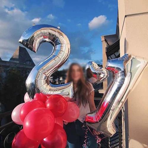 Globo Metalizado Numeros Gigantes Grande Rosa / Plateado 1m