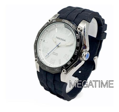 Reloj Tressa Caja Acero Sumergible Malla Caucho Garantía Of