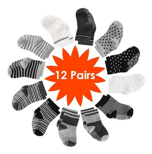 Calcetines Antideslizantes Para Bebés(12-36 Meses)(12 Pares)