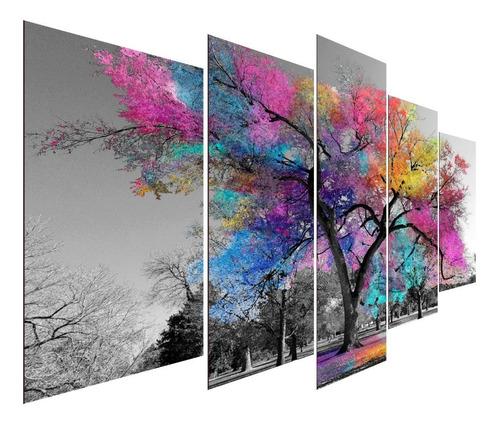 Kit Quadros Decorativos Sala Quarto Árvore Da Vida Colorida