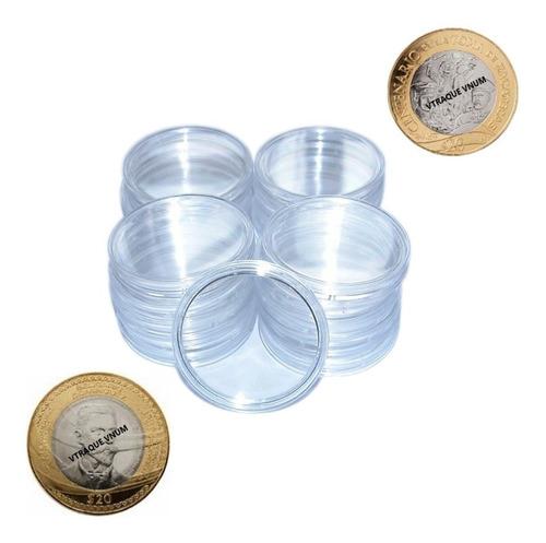 20 Capsulas Para Monedas 20 Pesos 32mm Hermeticas Acrilico
