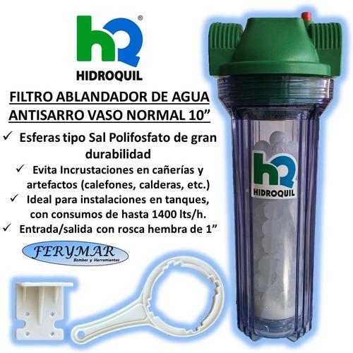 Filtro Ablandador Antisarro Vaso 10  Hidroquil Tanque Verde