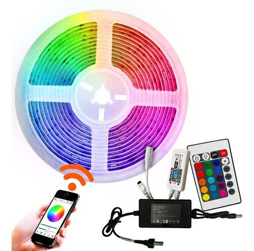 Kit Tira Led 5050 Rgb Controladora Wifi X 5 Mts Decoracion