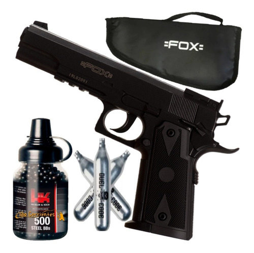 Pistola Co2 Aire Comprimido Fox Colt 1911 + Funda + Kit