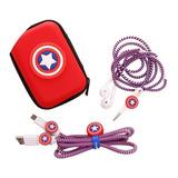 Kit Protector De Cable Capitán America + Estuche Super Heroe