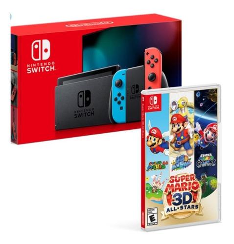 Nintendo Switch 1.1 Neon + Super Mario 3d All-stars Cst