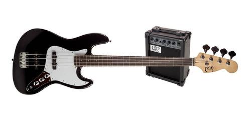 Pack Bajo Jazz Bass Y Amplificador Creep Completo Bk