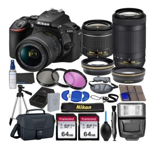 Nikon D5600 Lentes 18-55mm Vr 70-300mm (paquete 23pcs)