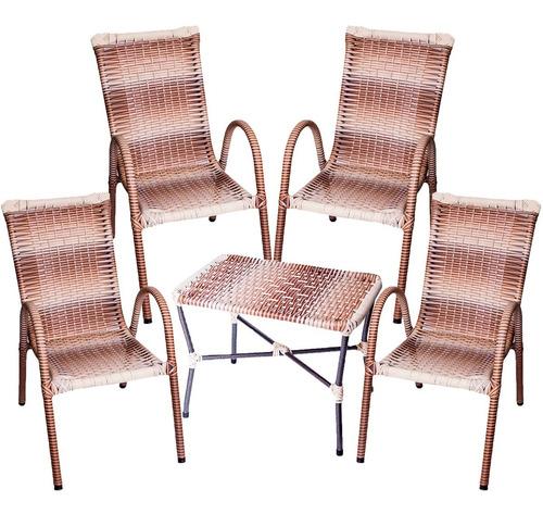 Conjunto Com 4 Cadeira E Mesa De Centro P/ Área Externa !!!