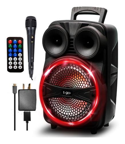 Parlante Portátil Bluetooth Potente Usb Fm Luces + Micrófono Karaoke Pendrive Mp3 Led Música Batería Recargable