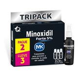 Tripack Minoxidil Fort Mk Solucion 5% 60ml X 3und