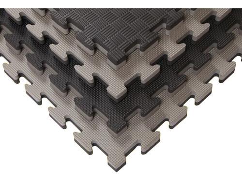Piso Tatami Goma Eva  1x1m 2cm Negro/gris