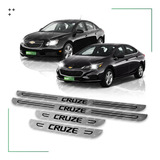 Kit 4 Cubre Zócalos Protector Para Chevrolet Cruze Ls Lt Ltz Molduras Acero Inoxidable Juego De Accesorios X4