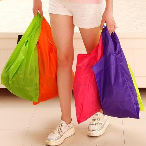 Bolso Ecológico Plegable Nailon Para Compras Varios Colores
