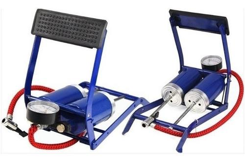 Inflador De Pie Manómetro Doble Piston Bici Moto Inflable