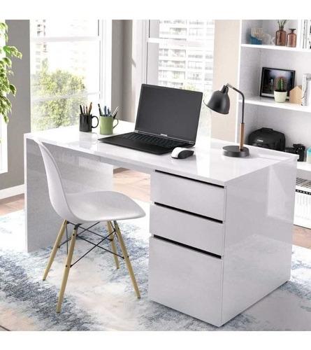 Mueble Escritorio Con Cajon Puerta Blanco Melamina Oficina