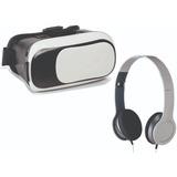 Óculos Realidade Virtual + Fone Ouvido Concha Dobrável
