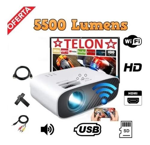 Mini Proyector Videobeam Wifi 5500l + Telon Y Soporte