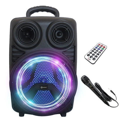 Parlante Portátil Bluetooth Karaoke Usb Sd Luces Led Con Mic