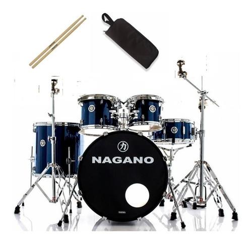 Bateria Nagano Garage Rock Blue Night Com Bumbo De 22 Oferta