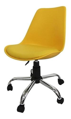 Cadeira De Escritório Pelegrin Pel-c032a  Amarelo Com Estofado Do Couro Sintético