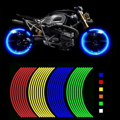 Tira Reflejante Cinta Moto Auto Bici Universal 16 Tiras Ultr