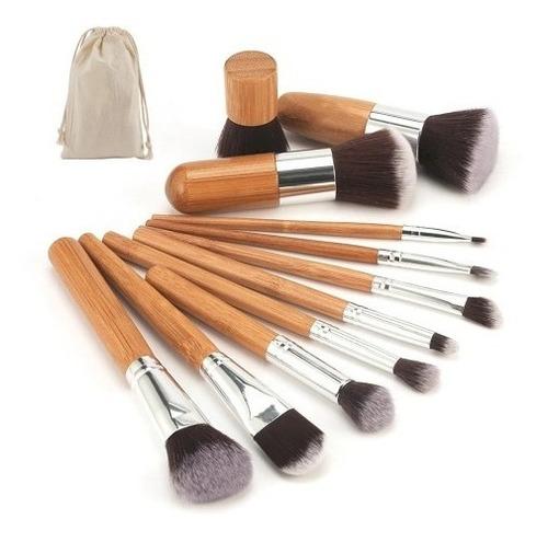 Brochas De Maquillaje Bambú Ecológicas 11 Pcs