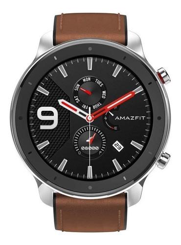 Smartwatch Amazfit Fashion Gtr 1.39  Caja 47mm De  Acero Inoxidable  Stainless Steel Malla  Brown De  Cuero Y Bisel De  Cerámica A1902