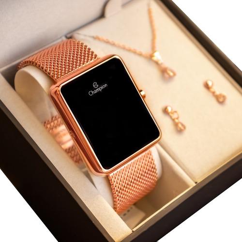 Relógio Champion Feminino Digital Quadrado Rosê Original