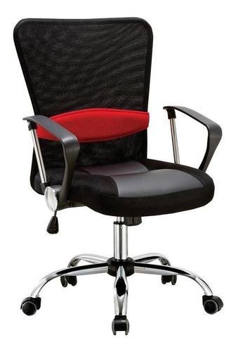 Cadeira De Escritório Pelegrin 502  Preta Com Estofado Do Mesh