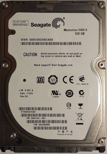 Disco Duro Sata 2.5 500 Gb Seagate St9500325as