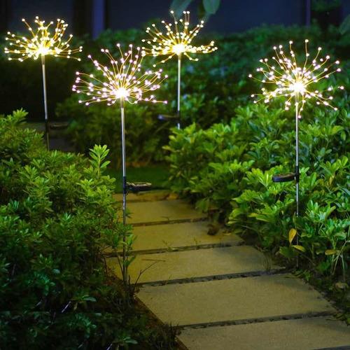 Estaca Luz Alambre Solar Para Jardin Fuego Artificial X 2uni
