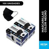Dos Cajas (100 Unidades) Mascarillas Quirurgicas Color Negro