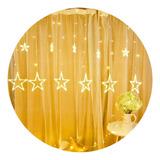 Cortina Guirnalda Estrellas Luz Led Calida Amarilla Efectos