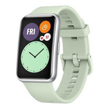 Huawei Watch Fit 1.64  Caja De  Fibra Polimérica  Silver Malla  Green Mint De  Silicona Tia-b09