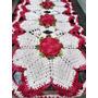 Caminho De Mesa Croche Barroco Vermelho Multico Barbante Cru Original