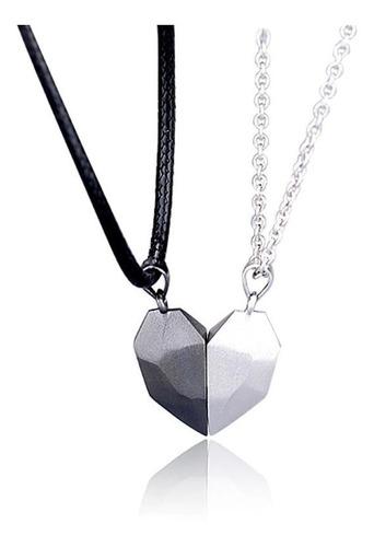 Collar Corazón Pareja Separables Con Imán