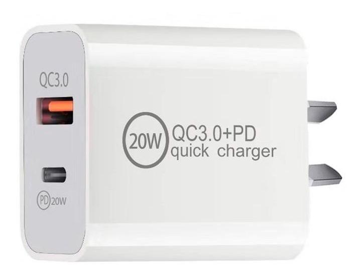 ENCHUFE CARGA RAPIDA GENERICO BLANCO 20W (USB Y PD) 2021