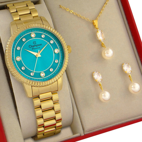 Relógio Champion Feminino Dourado Azul Kit Ouro 18k Original