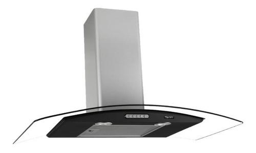 Exaustor Depurador De Cozinha Terim Vidro Curvo Aço Inoxidável De Parede 75cm X 5cm X 45cm Inox E Preto 110v