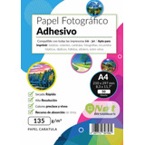Papel Fotográfico A4 135g Glossy Pack 50 Adhesivo